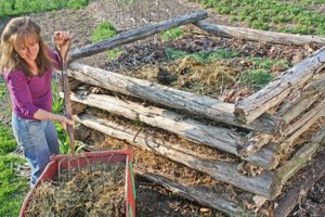 "Photo from Mycorrhizal Planet: Stacked-log composting works well for building up green and brown layers over the course of a few months. These ""bins"" can readily be disassembled when the time comes to move compost onward."